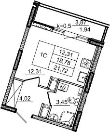 Студия, 21.72 м², от 4 этажа