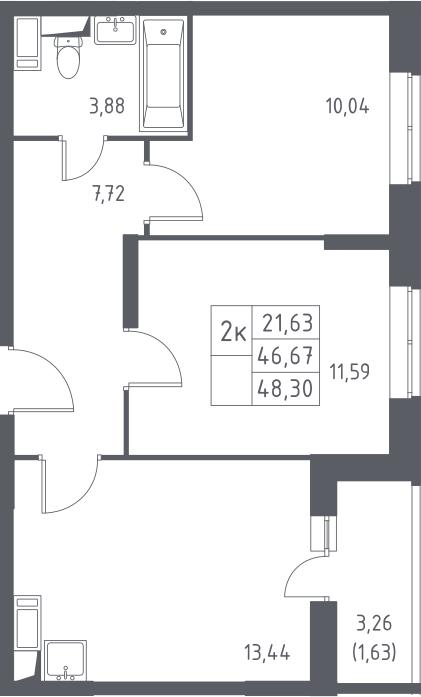 2-комнатная квартира, 48.3 м², 14 этаж – Планировка
