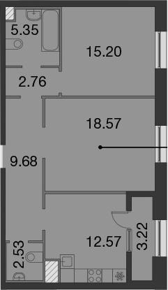 2-комнатная, 68.27 м²– 2