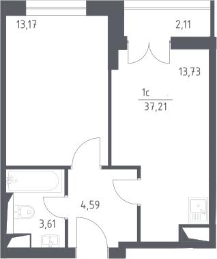 2Е-комнатная, 37.21 м²– 2