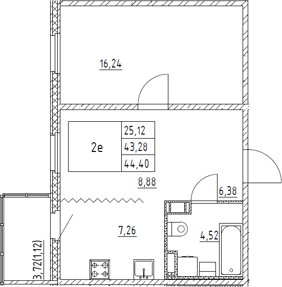 2Е-к.кв, 44.4 м², от 3 этажа