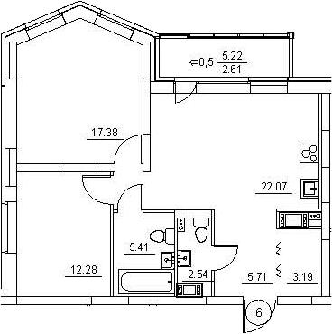 3Е-к.кв, 71.19 м², 2 этаж
