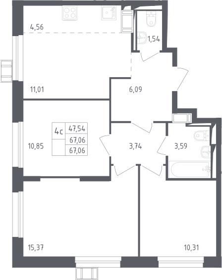 4Е-к.кв, 67.06 м², 12 этаж