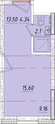 Студия, 16.9 м²