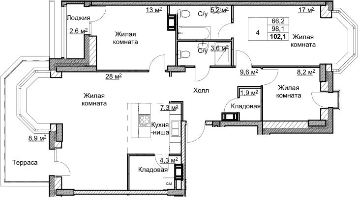 4Е-комнатная, 102.07 м²– 2