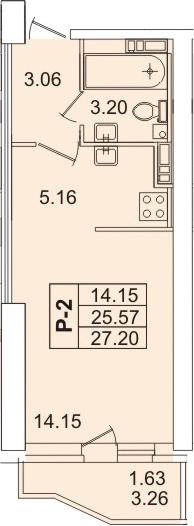 Студия, 28.83 м²
