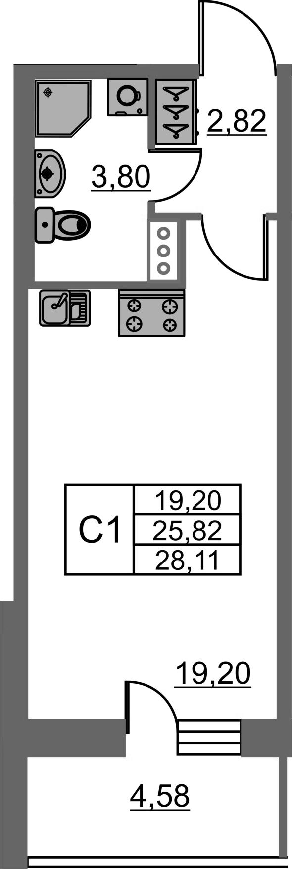 Студия, 25.82 м²– 2