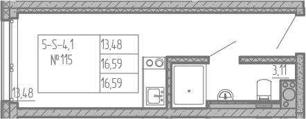 Студия, 16.59 м², от 12 этажа
