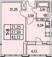 1-к.кв, 46.25 м²