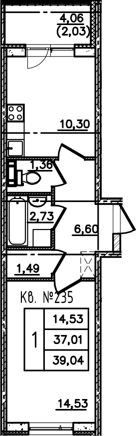 1-комнатная, 39.04 м²– 2