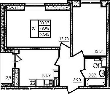 2-к.кв, 49.95 м², 11 этаж