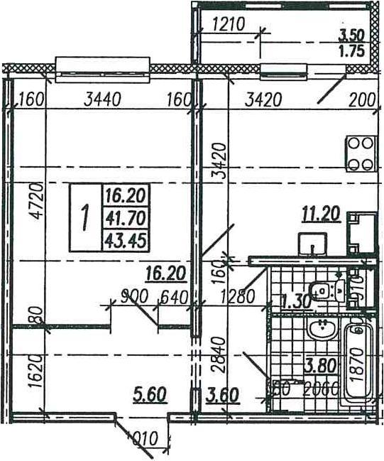 1-к.кв, 45.2 м²