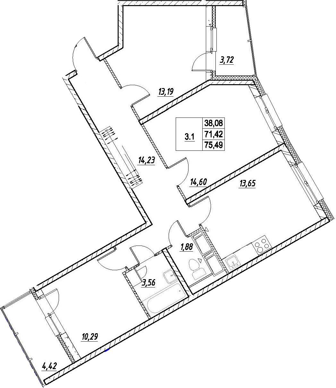 3-комнатная, 75.49 м²– 2
