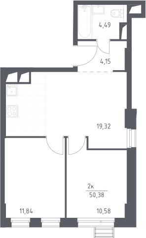 3Е-к.кв, 50.38 м², 27 этаж