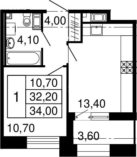 2Е-к.кв, 32.2 м², 6 этаж