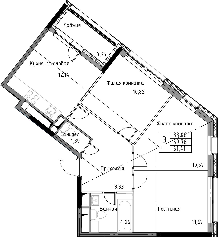 3-к.кв, 63.04 м²