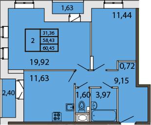 2-к.кв, 62.66 м²