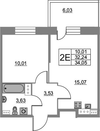 2Е-к.кв, 34.05 м², от 3 этажа
