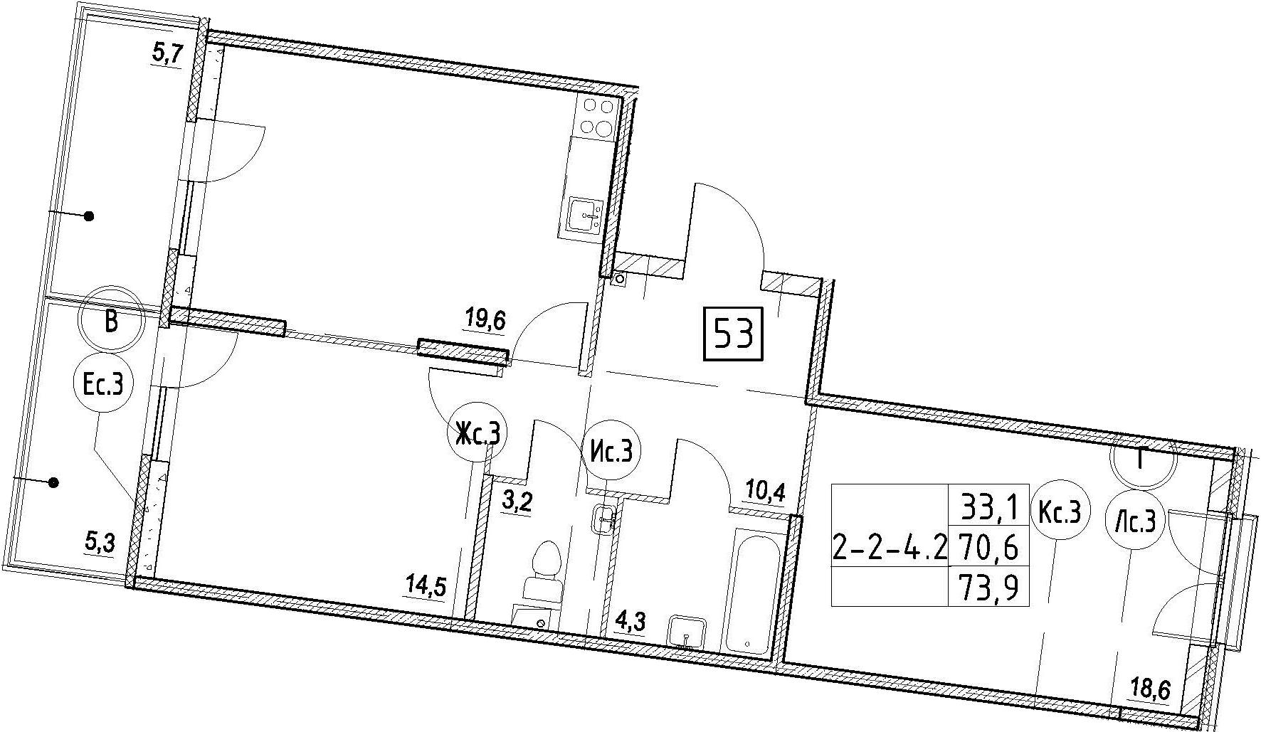 3Е-к.кв, 73.9 м², 2 этаж