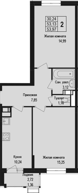 2-к.кв, 55.33 м²