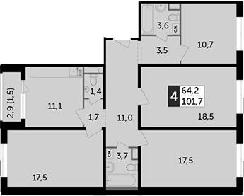 4-к.кв, 103.2 м²