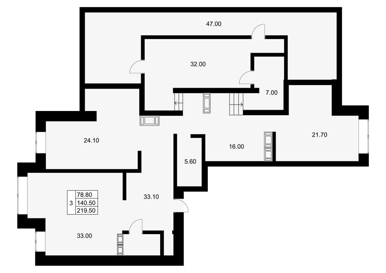 3-комнатная, 144.8 м²– 2
