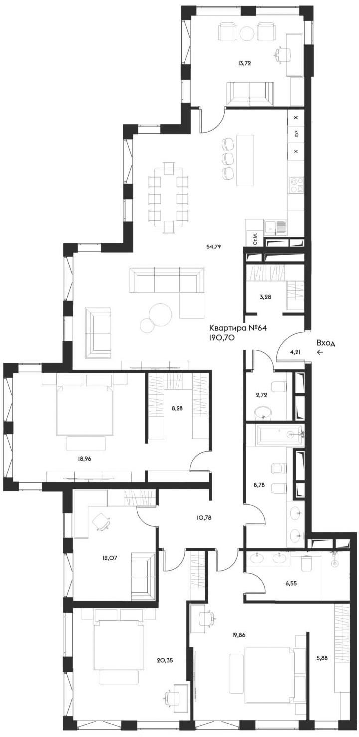 5-комнатная, 190.7 м²– 2