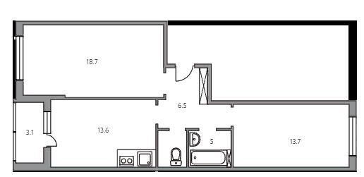 2-комнатная, 60.6 м²– 2