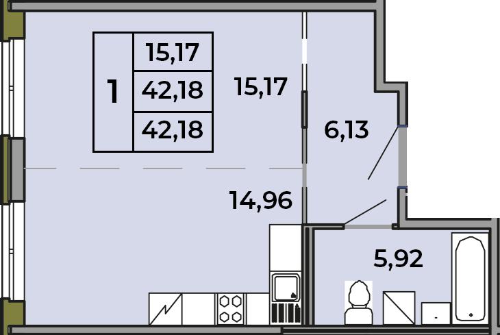 Студия, 42.18 м²