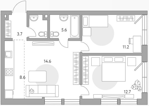 3Е-к.кв, 56.4 м²