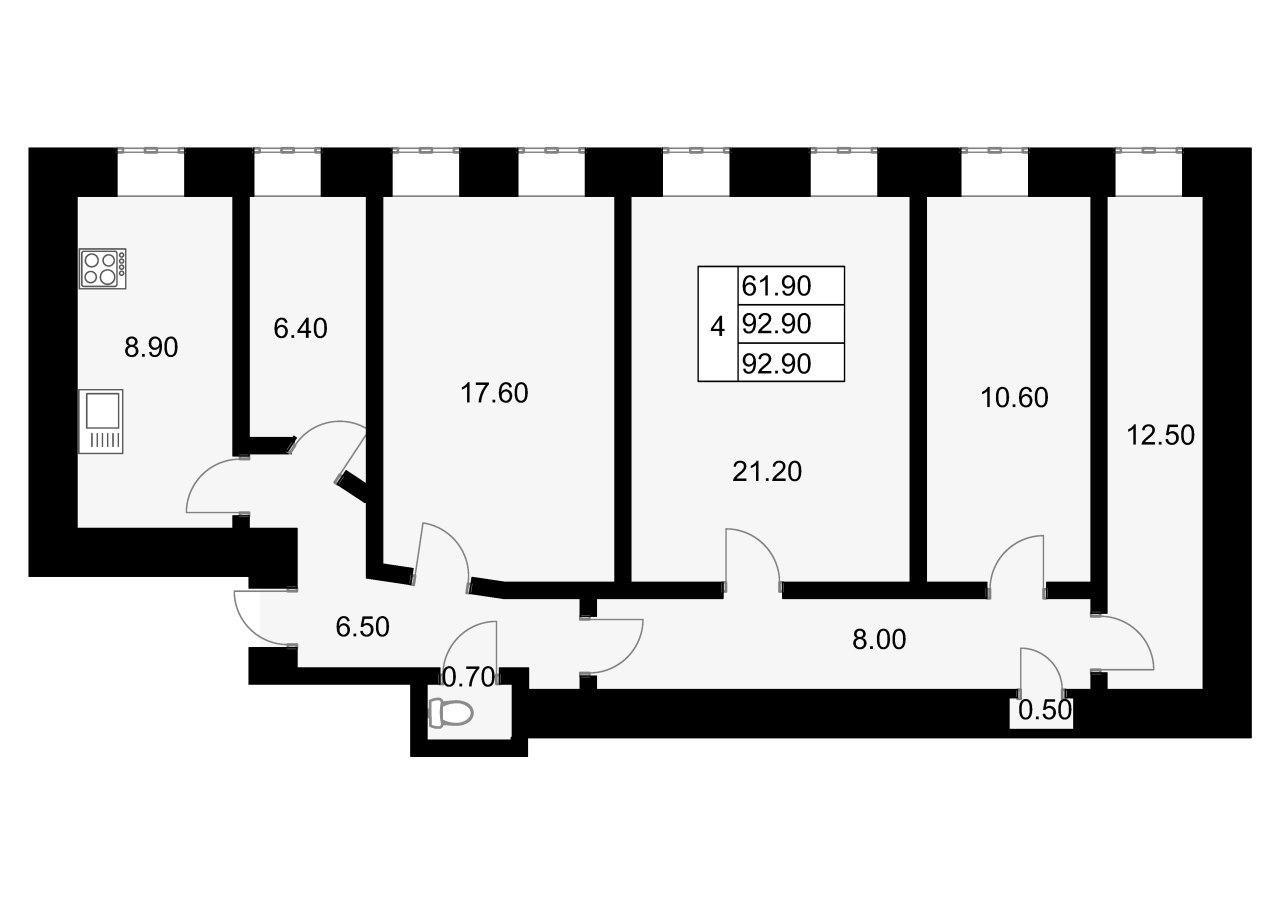 4-к.кв, 92.9 м²