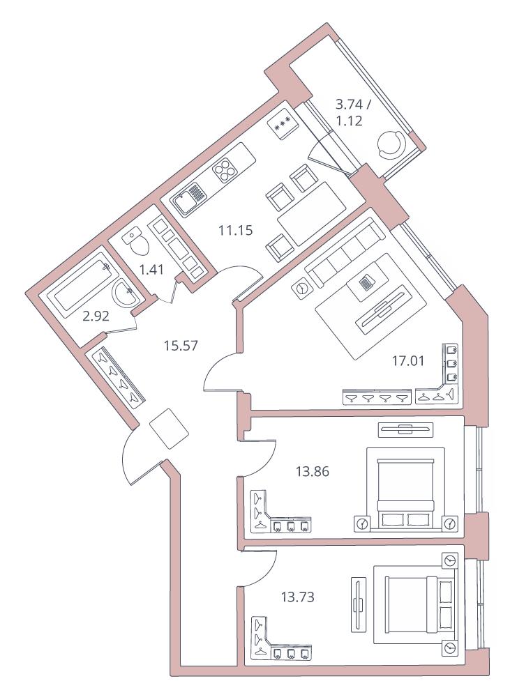 3-к.кв, 79.39 м²