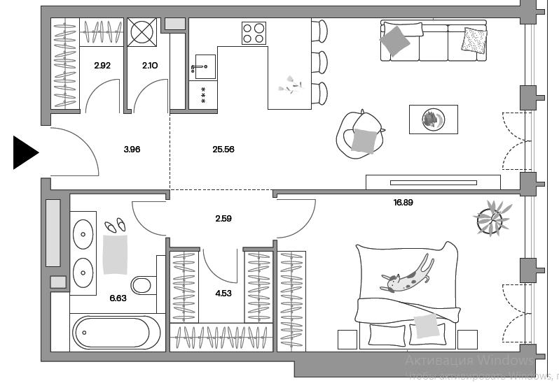 2Е-комнатная, 64.69 м²– 2