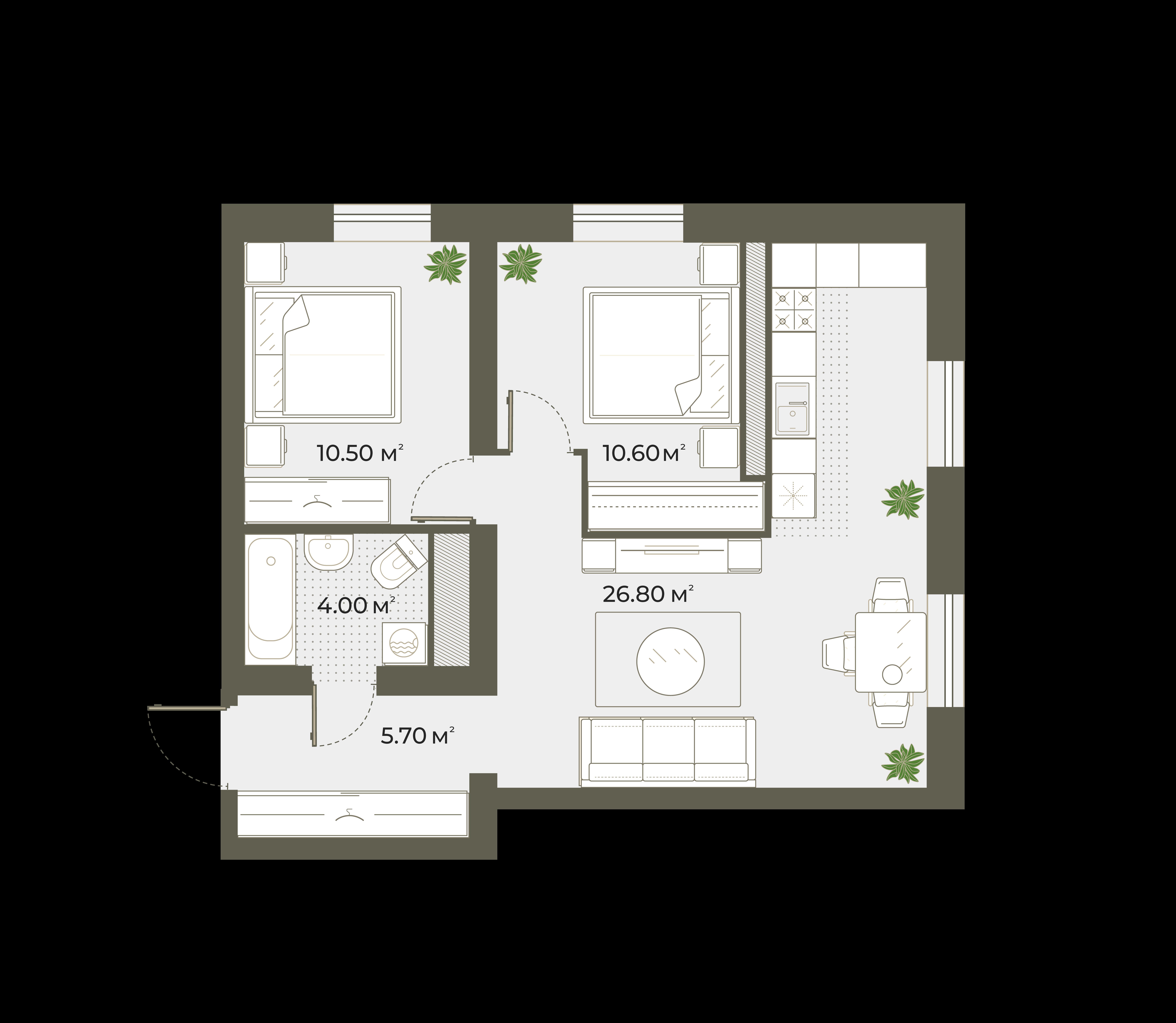 3Е-к.кв, 57.6 м², 5 этаж