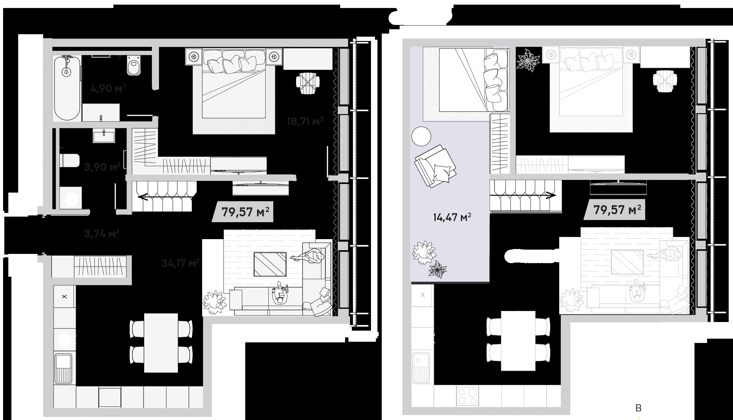 3Е-комнатная, 79.57 м²– 2