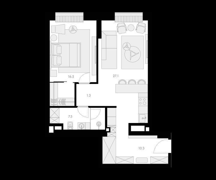 2Е-комнатная, 62.7 м²– 2