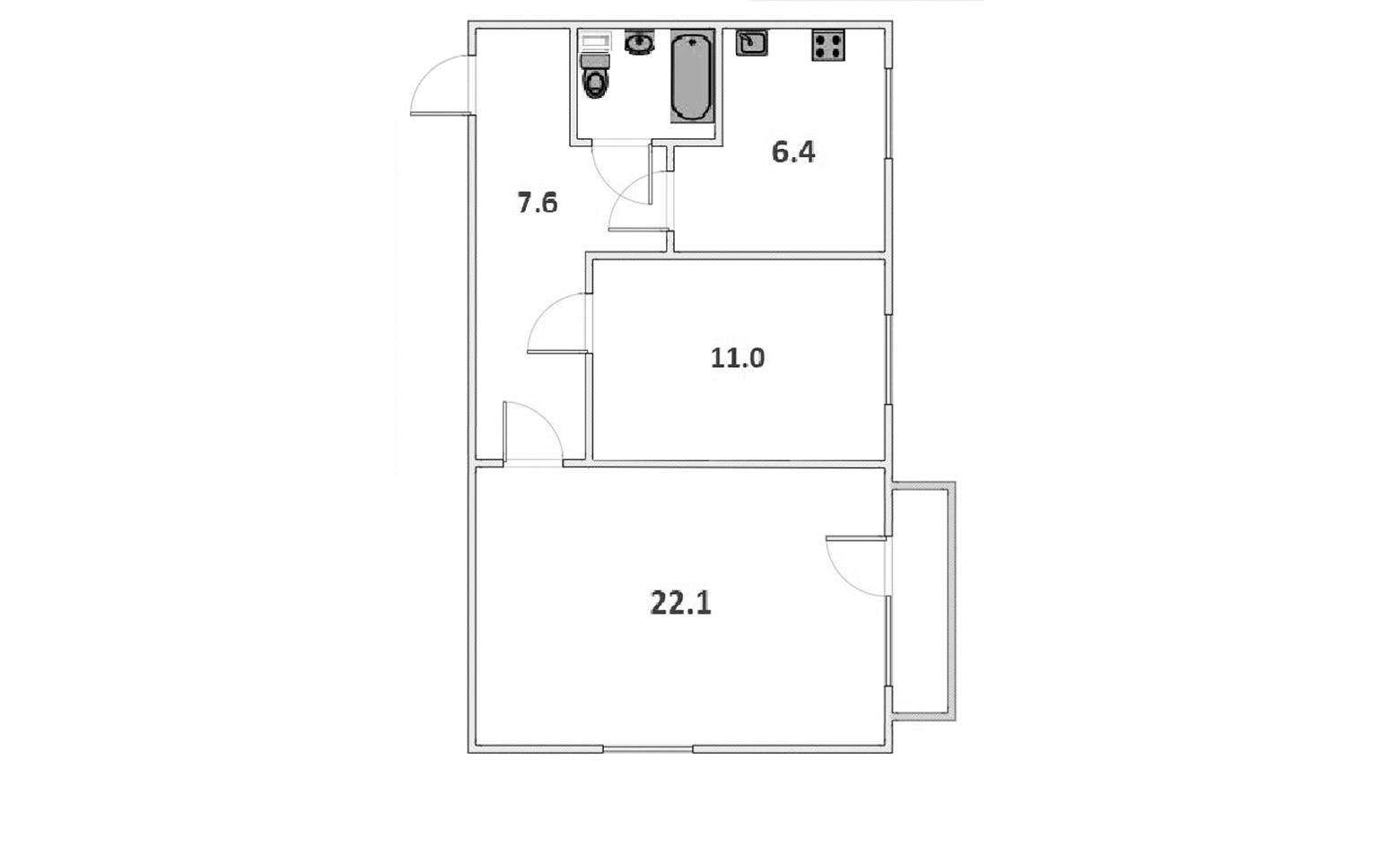 2-к.кв, 50.7 м²