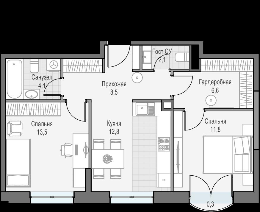 2-к.кв, 59.5 м²