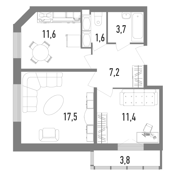 2-к.кв, 54 м²