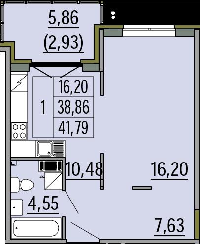 1-комнатная, 41.79 м²– 2