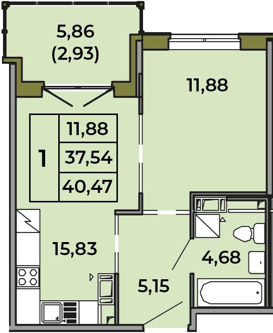 2Е-комнатная, 37.54 м²– 2
