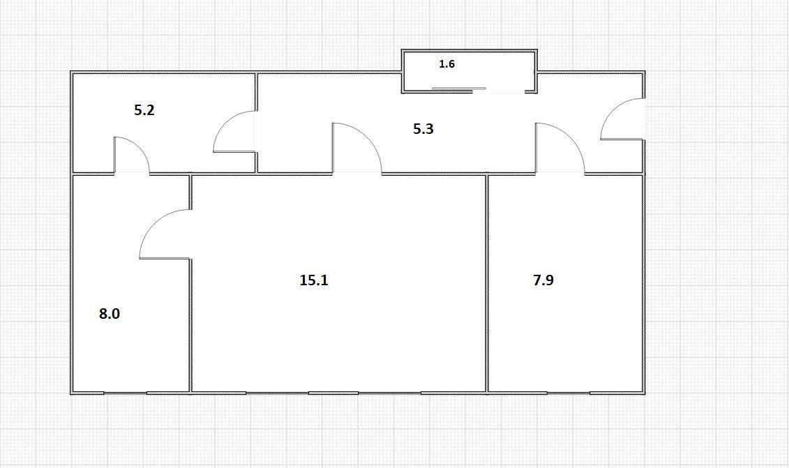 2-к.кв, 43.1 м²