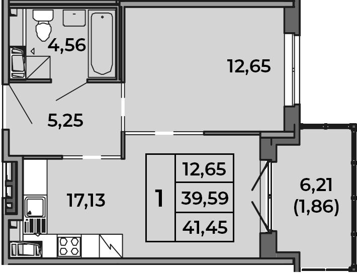 2Е-комнатная, 41.45 м²– 2