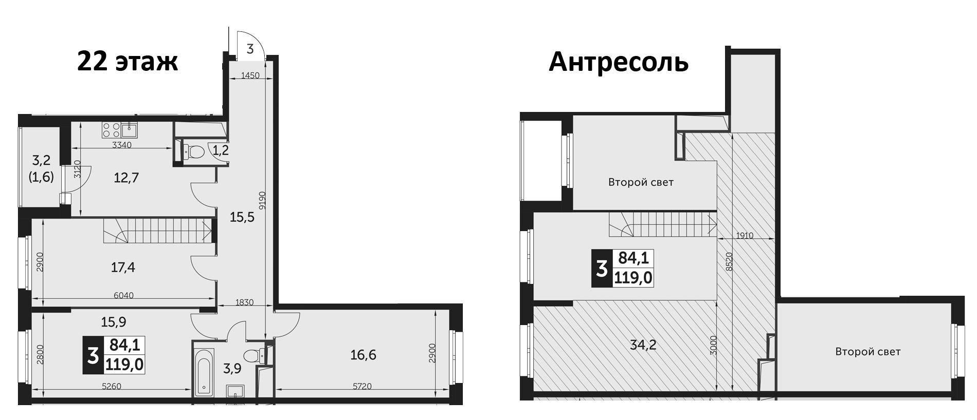 3-комнатная, 119 м²– 2