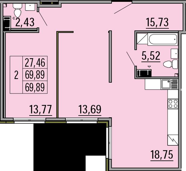 3Е-комнатная, 69.89 м²– 2