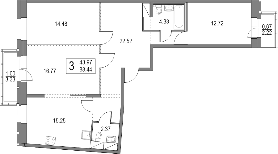 4Е-к.кв, 88.44 м², от 2 этажа