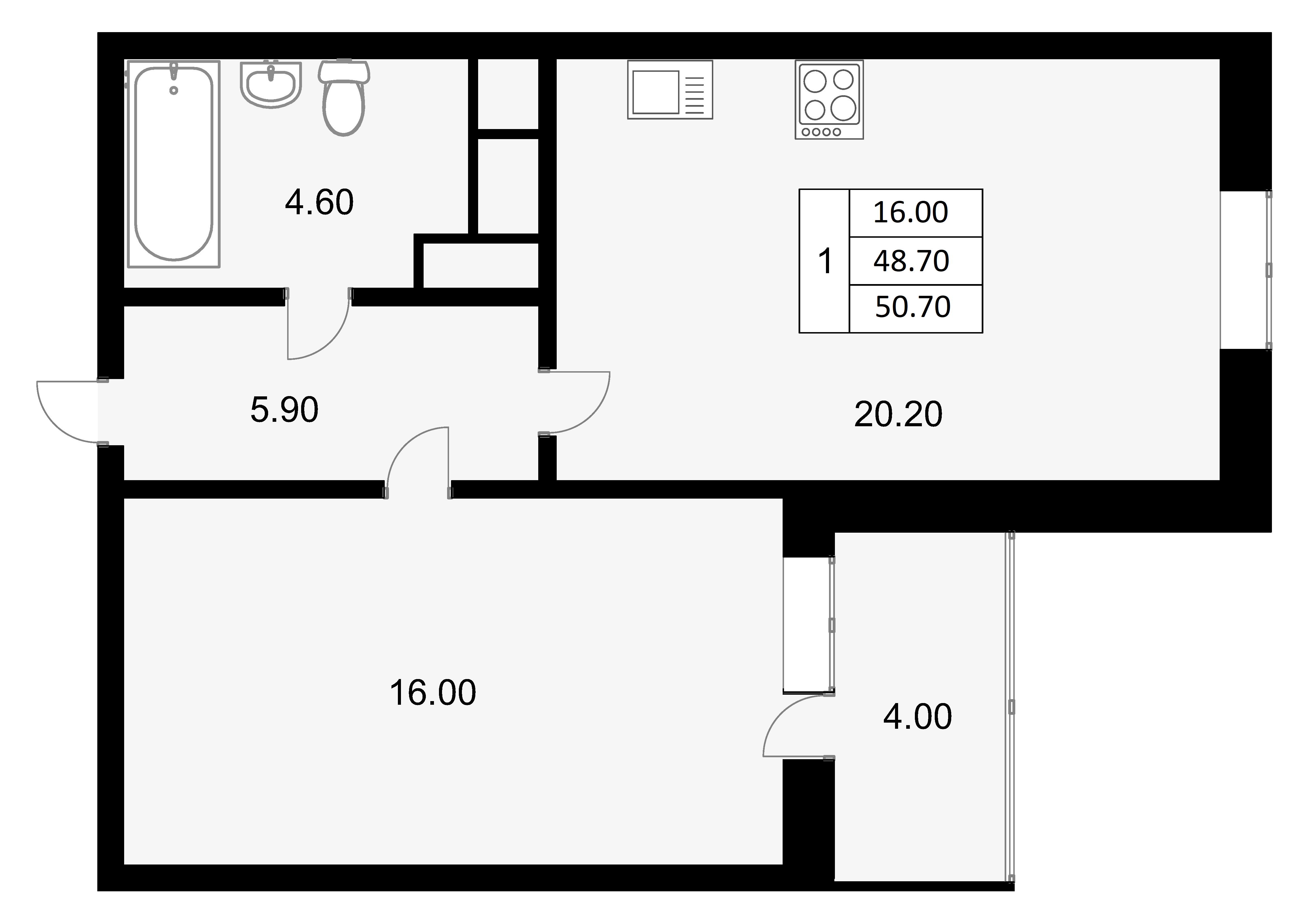 2-к.кв (евро), 50.7 м²