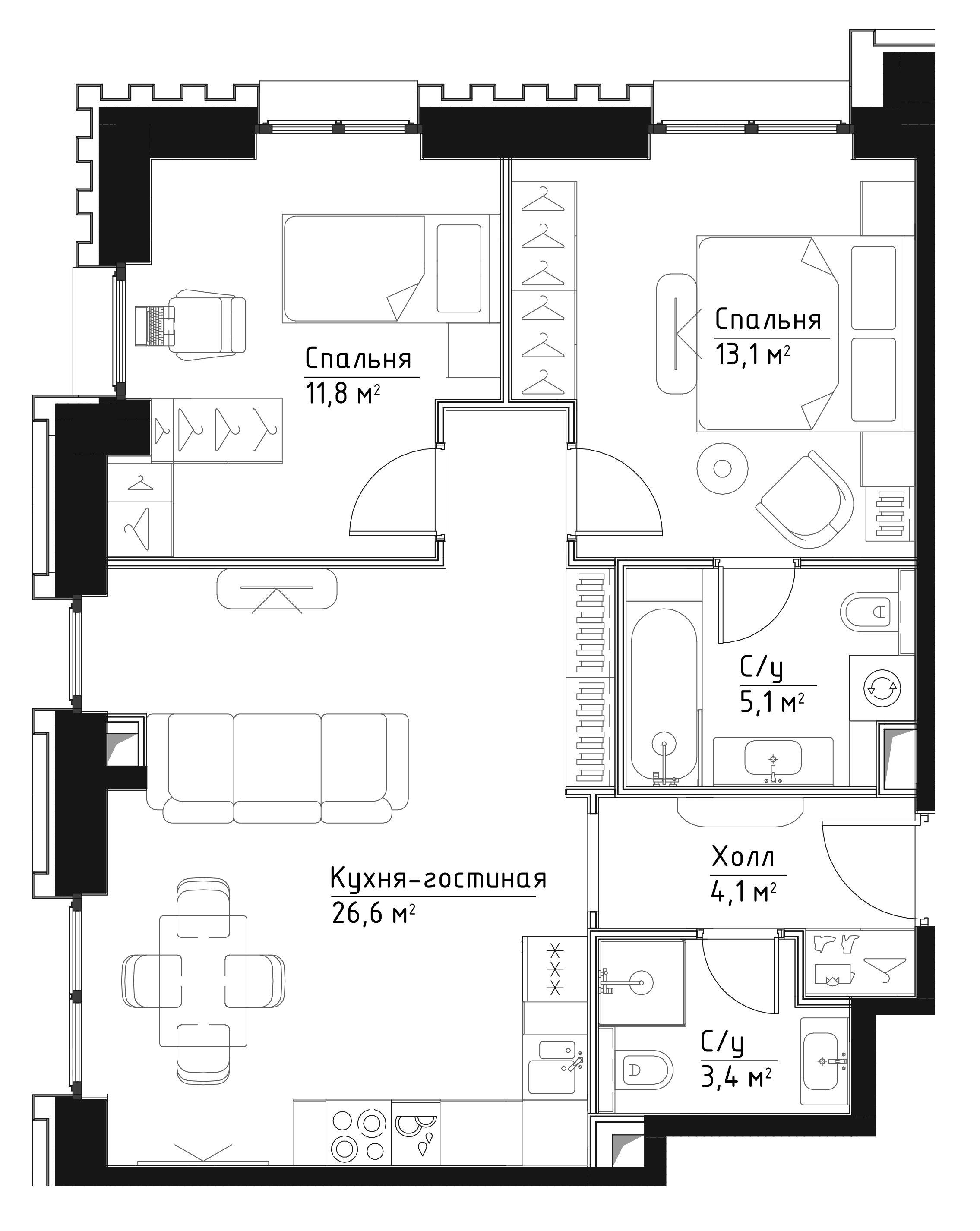 3Е-к.кв, 64.1 м²