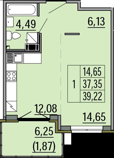 Студия, 39.22 м²– 2