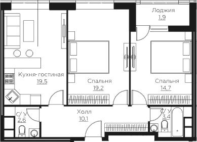 3Е-комнатная, 71.4 м²– 2